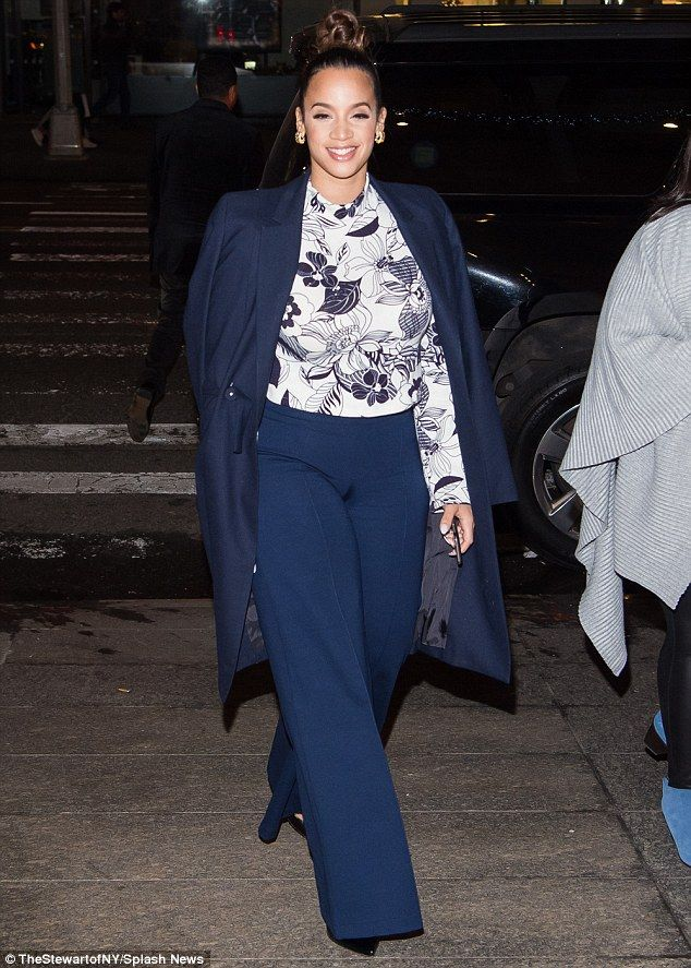 In the spotlight: A smiling Dascha Polanco headed to dinner in New York on Saturday evening after a day of media interviews to promote the movie Joy