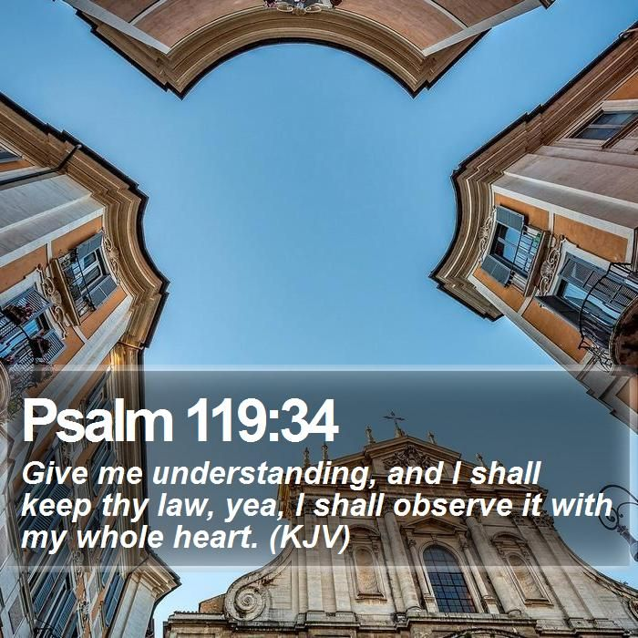 Psalm 119:34 Give me understanding, and I shall keep thy law, yea, I shall observe it with my whole heart. (KJV)  #Thankful #Image #Vine #Respect #LifeQuote #GodIsGood http://www.bible-sms.com/