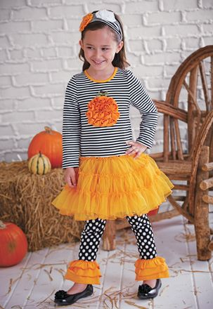 One Posh Kid Petti Dress Set From CWDkids: Rosette Pumpkin Dress Set