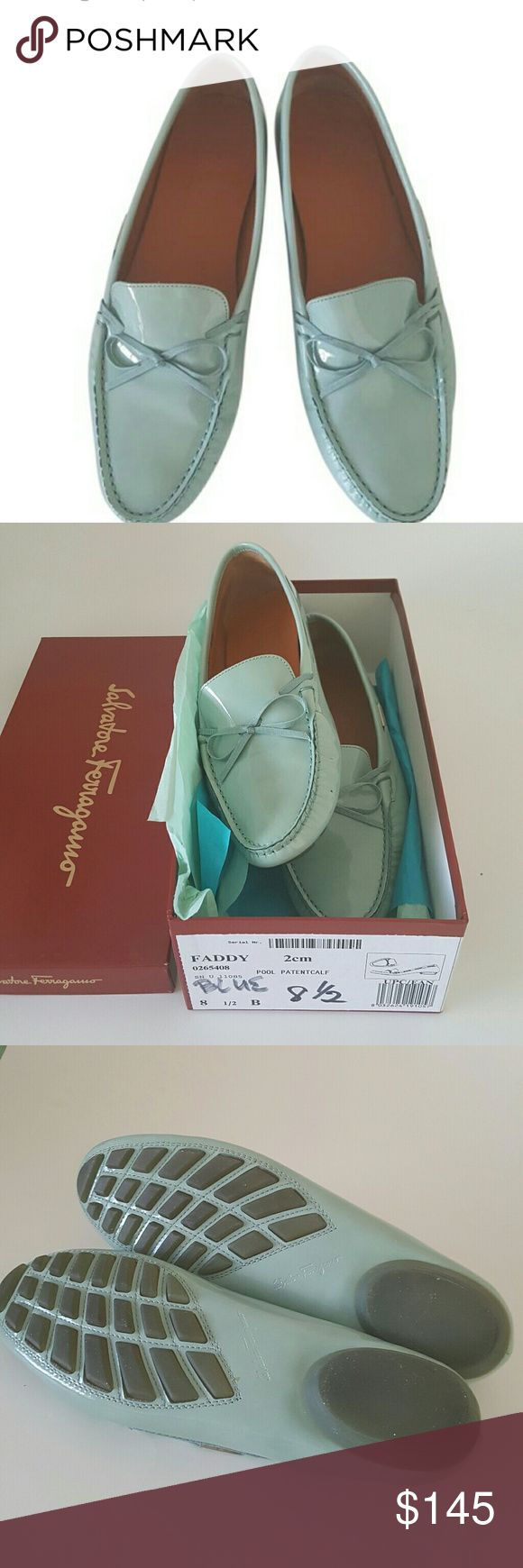 """Salvatore Ferragamo Blue """"Faddy """" Leather Loafers 100% authentic pair of shoes from Salvatore Ferragamo, made in Italy,  Blue patent leather driving loafers flats,  rubber sole,  lining leather, excellent condition only tiny dot on the front  hardly can see , coming with box . They runs through the size. Salvatore Ferragamo Shoes Flats & Loafers"""