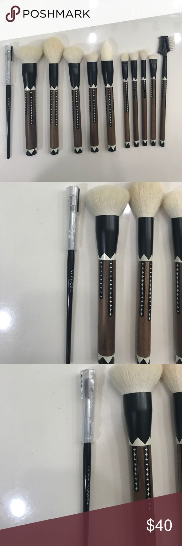Sephora crease brush and Sonia Kashuk brush set Brand new sephora pro crease brush and Sonia kashuk Exotic Artisans  brush set without box. Bought the Sonia kashuk set last holiday but never used them. Really nice soft brushes!when referring to last pic, set is only missing the precision pencil and eyeliner brushes because i have used them. Sephora and Sonia Kashuk Makeup Brushes & Tools #exoticmakeup