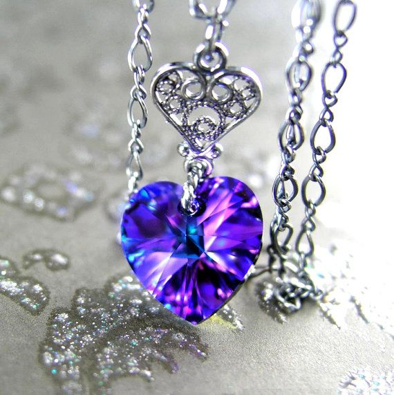 Purple Heart Necklace Sterling Silver Chain by DorotaJewelry