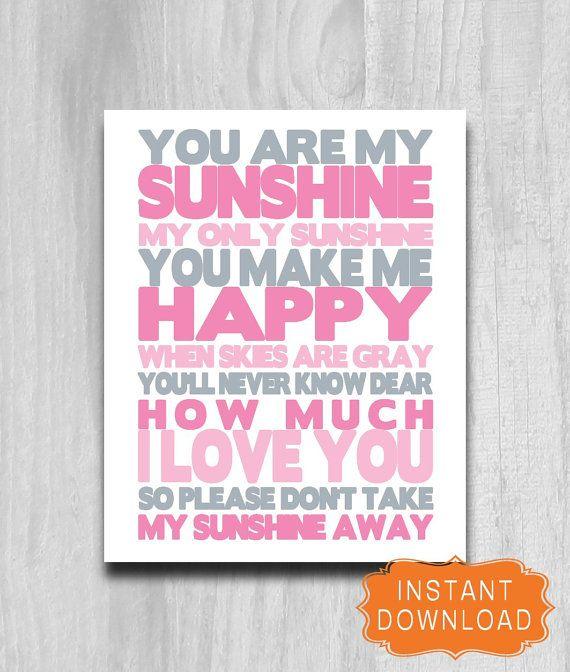 Verkauf, du bist mein Sonnenschein Print rosa grau Baumschule druckfähigen Digital Download Typografie inspirierende Wort Kunst Baby-Dusche-Geschenk-16 x 20 11 X 14