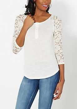 White Lace Sleeve Raglan