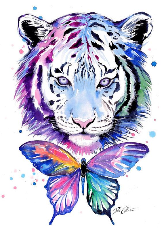 Tigers and butterflies - signed Art Print Original Artwork by PixieCold