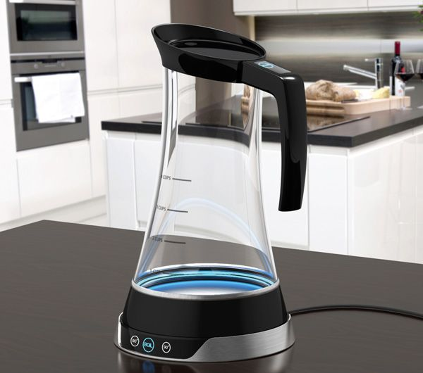 Concept kettle that uses colours to indicate the temperature and uses induction heating. Looks nice too :D