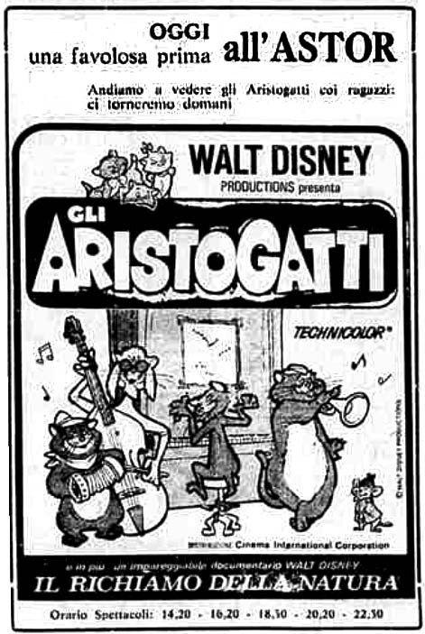 """""""Gli Aristogatti"""" (The AristoCats, 1963) di Wolfgang Reitherman, con Phil Harris e Eva Gabor. Italian release: July 3rd, 1964 #MoviePosters #WaltDisney #TheAristocats"""