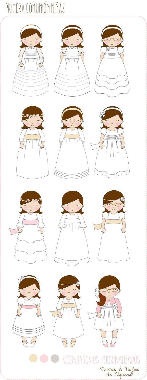 Recordatorios personalizados Primera Comunión niñas