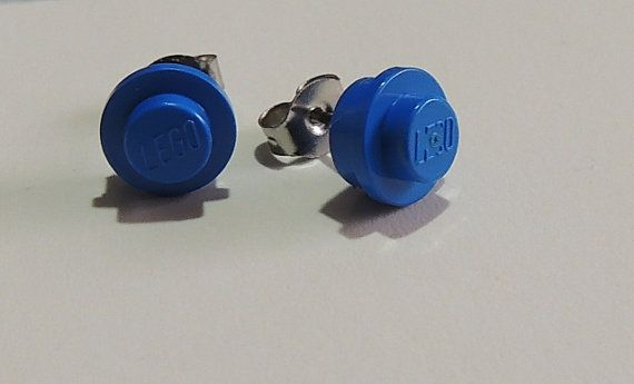 Blue Lego Studs with Surgical Steel posts by StarTideDesigns, $10.00