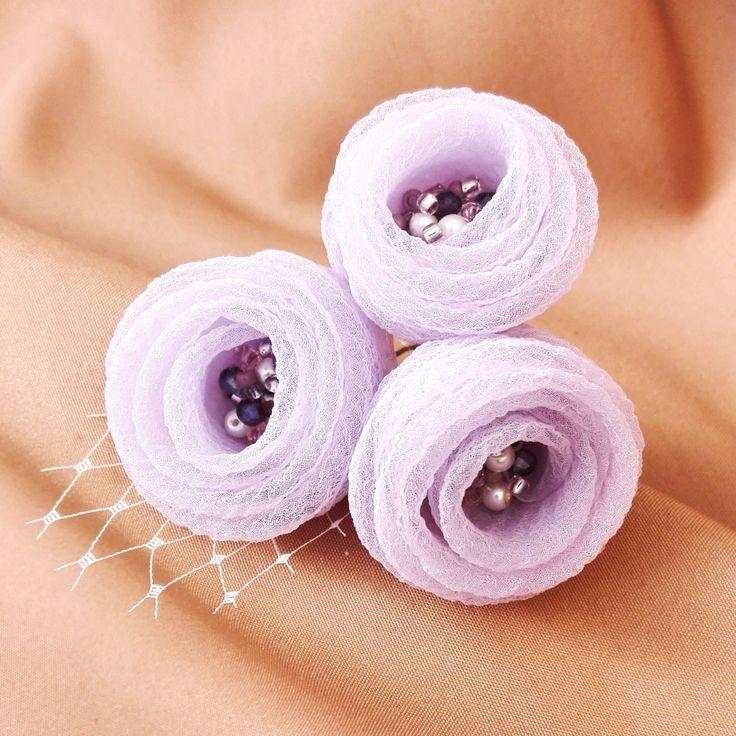Light Purple Roses, Wedding Flower Hair Pins, Organza Hair Flowers by AnaManoleAtelier on Etsy
