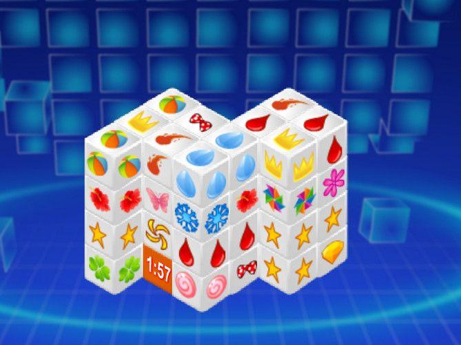 Szép, színes 3D-ben készült madzsongot kaptok kézbe. Természetesen itt is az egyforma ábrákat kell keresni, csak nem a lapokon, hanem a kockákon. Jó kockázgatást!