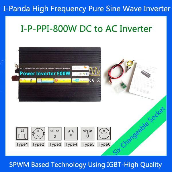 800W pure sine inverter, 800w  dc to ac power inverter,  portable solar power system 12v dc 24v dc 48v dc
