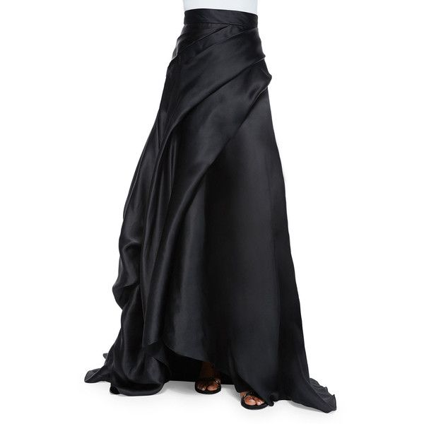 Rubin Singer Side-Draped Silk Ball Skirt ($1,008) ❤ liked on Polyvore featuring skirts, black, long silk skirt, ball skirts, silk skirt, floral print maxi skirt and floral printed skirt