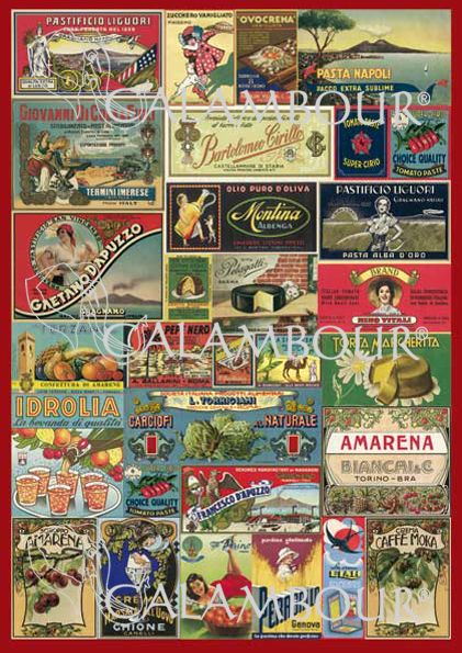 CAL 296 - Calambour Paper for classic Decoupage. Pattern : Kitchen label. Details: measures 50 x 70 cm, printing on 80 gr/mq paper sheet