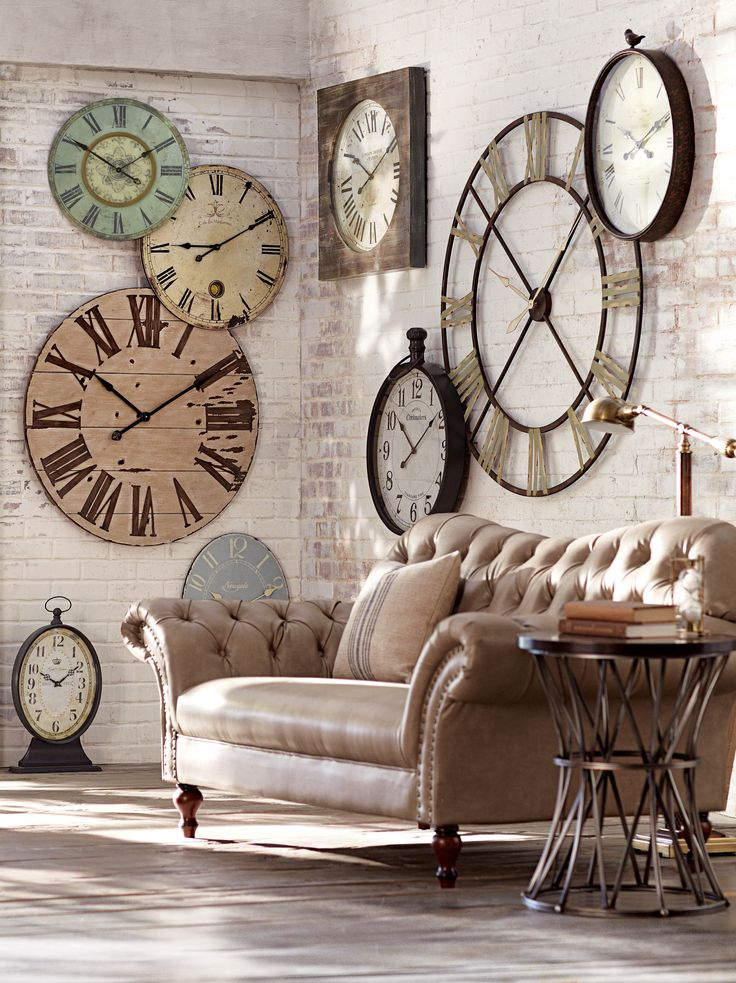 Large Clocks Decorating Living Room Walls ~ I Really Like This Look!