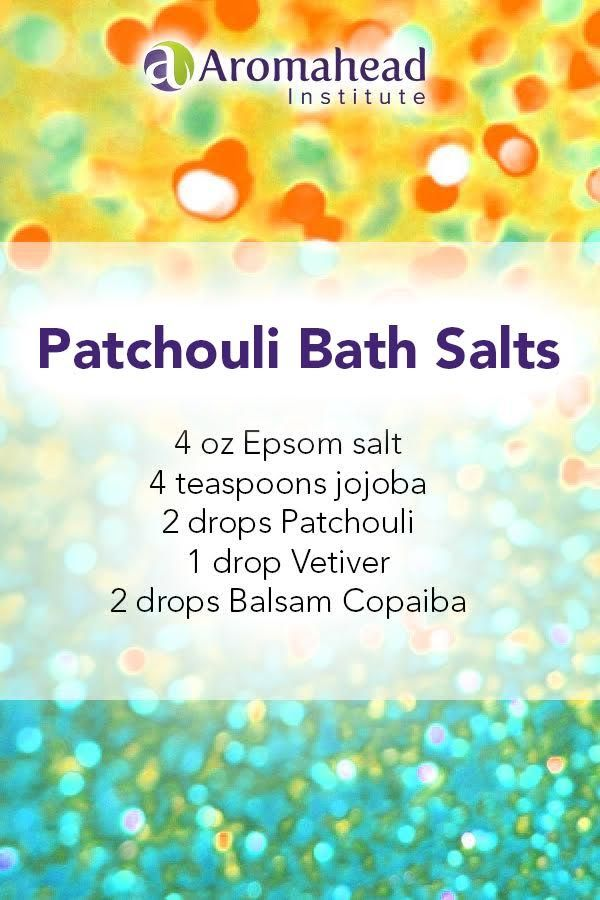 """Patchouli essential oil has an amazing ability to soothe irritation, whether it's mental, emotional, or physical!  This """"Patchouli Bath Salts"""" recipe is enough for two relaxing baths.   Calm your mind from the busyness of the week!!  Click through for a holiday bath salt blend with a hint of spice!"""