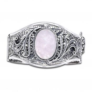 Браслет ручной работы из серебра с розовым кварцем. Филигрань.