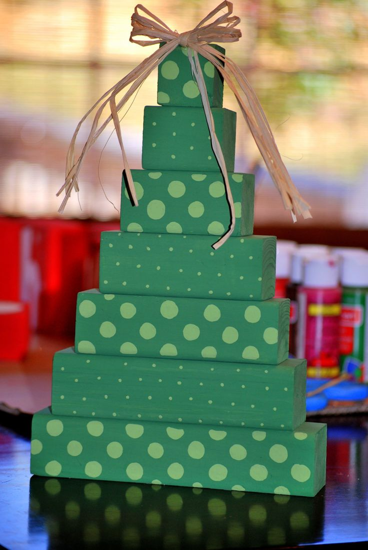 Wooden craft christmas trees - Polka Dot Christmas Tree Wooden Block Stack Shelf Sitter 12 00 Via Etsy