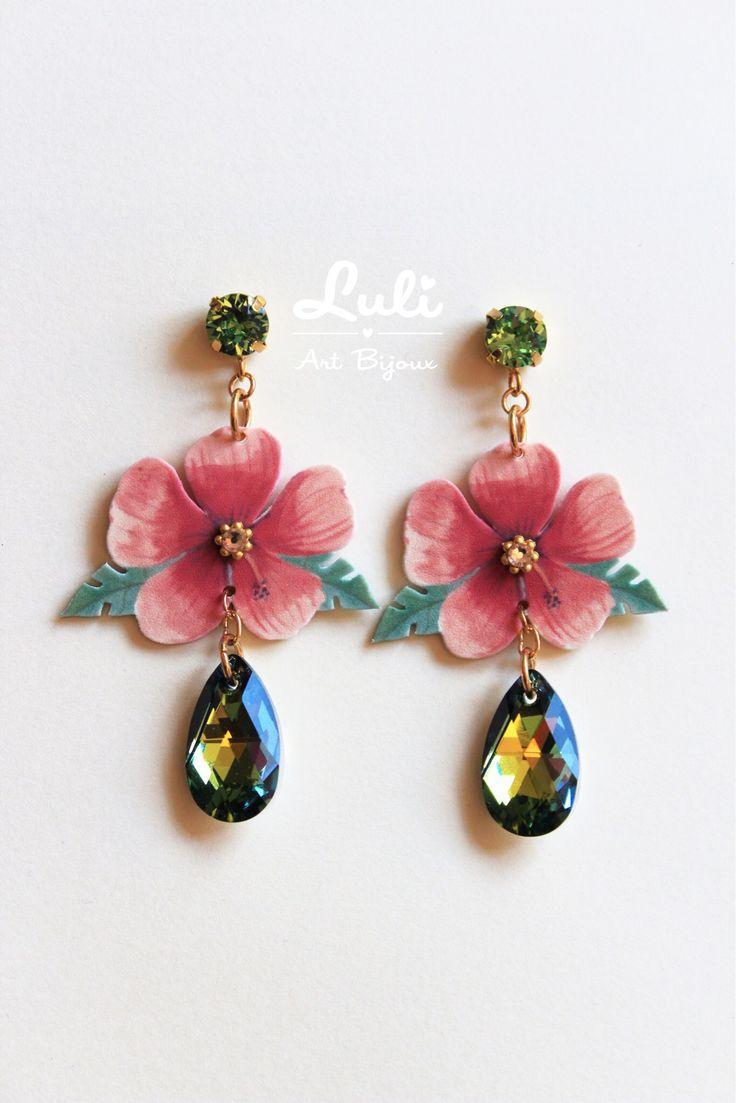 New Tropicana earrings by Luli Art Bijoux - #madeinitaly #handmade #swarovski #tropical #earrings