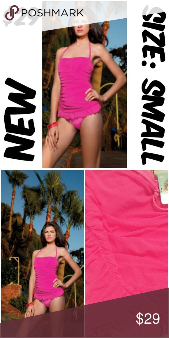 """Halter Pin Up Swimsuit One Piece Strapless Hot Pin Halter Pin Up Swimsuit One Piece Strapless Hot Pink STRAPS ARE REMOVABLE BUST: 32-34"""" WAIST: 24-26"""" CONDITION: NEW WITH TAGS #C3 Swim One Pieces"""