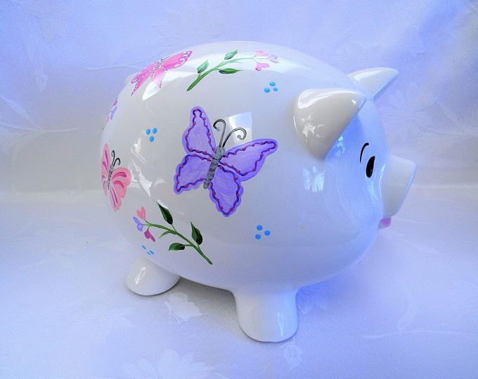 Personalized Piggy bank, piggy bank with butterflies, painted piggy bank, childrens piggy bank, nursery decor, adult piggy bank, butterflies