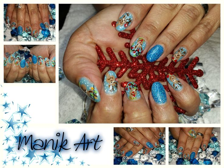 #christmas #noel #blue #reindeer #nails #nailart #original #design
