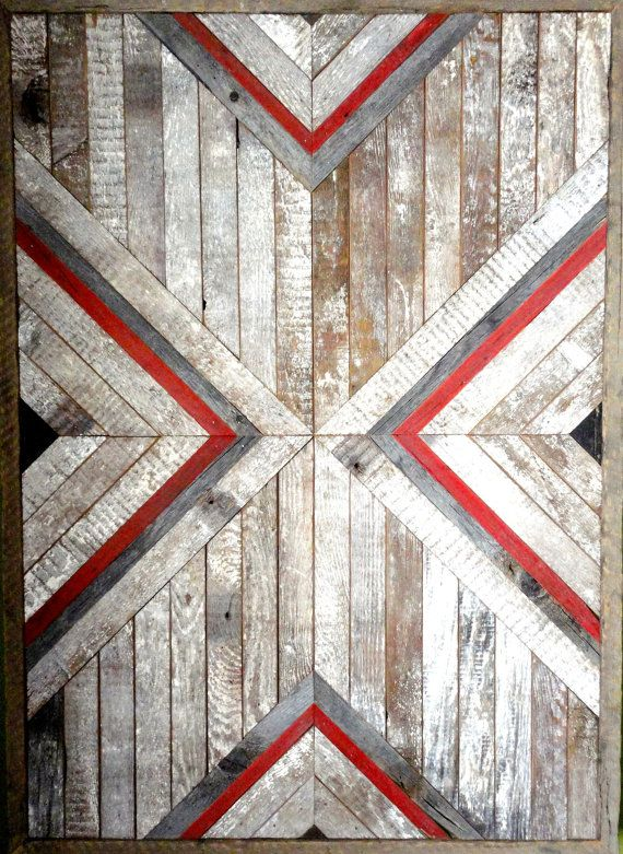 White, Red and Grey Reclaimed Chevron Art Piece