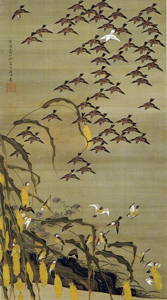 伊藤若冲 Ito Jakuchu/動植綵絵 Doshoku Sai-e(Colorful Realm of Living Beings)04-秋塘群雀図 Shuto Gunjaku-zu(Autumn Millet and Sparrows)