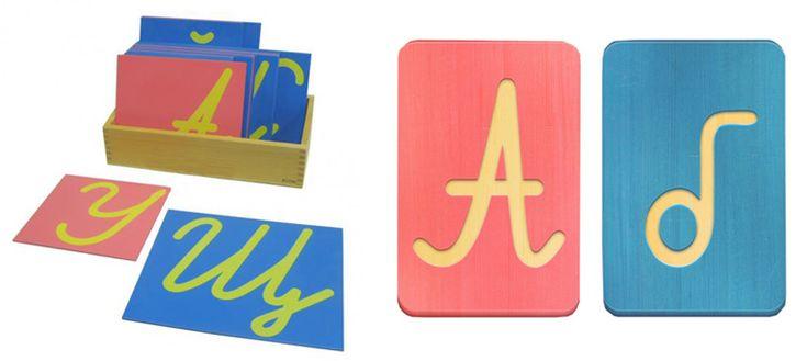обучение письму по методу монтессори: через тактильные ощущение. буквы вырезаны в картоне или, наоборот, выпуклые