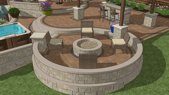 Fire pit area with built in fire pit and seating wall for Built in fire pits designs