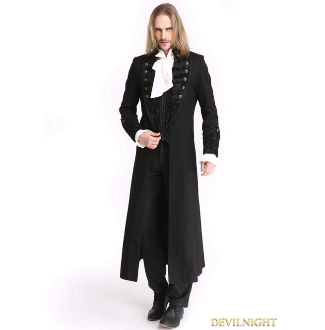 Rebelsmarket black vintage pattern gothic long double breasted trench coat for men m0843 coats 7