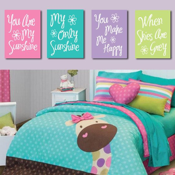 You Are My Sunshine Wall Art CANVAS Pink Purple Lime Turquoise Typography Quote Crib NURSERY Song Print Set of 4 Prints Baby Decor