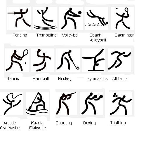 2008 Olympic pictographs from China - 'The Beauty of the Seal', based on the strokes of seals used in inscriptions in ancient China.