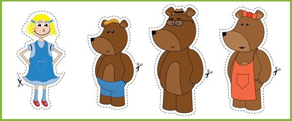 """Goldilocks Stick Puppets...A collection of """"Goldilocks and the three bears"""" illustrations, ideal to cut out and use as visual aid stick puppets."""