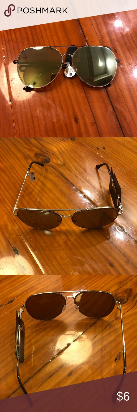 Mirrored Aviator Sunglasses 🕶 Charlotte Russe Mirrored Aviator Sunglasses :: New with Tags! Great condition! No scratches or wear. Greenish Gold mirror color. Would compare to the largest size Ray Ban aviators. Super cute for by the pool! ☀️ Charlotte Russe Accessories Sunglasses