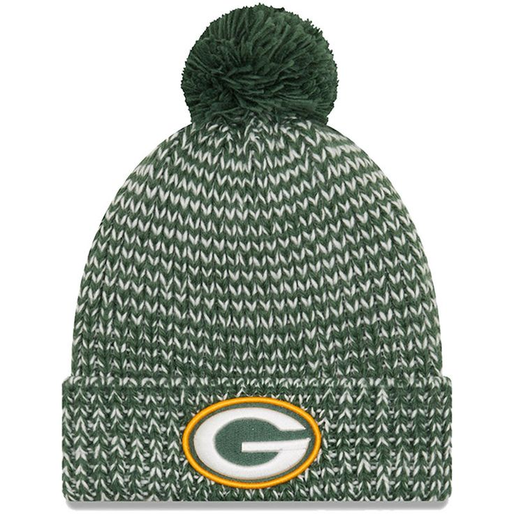 Women's Green Bay Packers New Era Green Frosty Cuff Pom Knit Hat - NFLShop.com