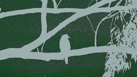 Dark Mauve Kookaburra on Branch Outline by BlackbirdArtDesign, $35.00