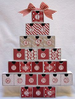 Advent calendar box drawer tree with Teresa Collins Christmas paper