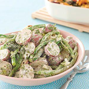 Potato and Green Bean SaladPotatoes Salad, Salad Recipes, Potato Salad, Healthy Side Dishes, Brunch Recipes, Green Beans Salad, White Wine, Brunches Recipe, Bean Salads