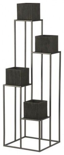 """Quadrant Plant Stand with Four Planters modern outdoor planters.  16""""Wx16""""Dx54""""H"""