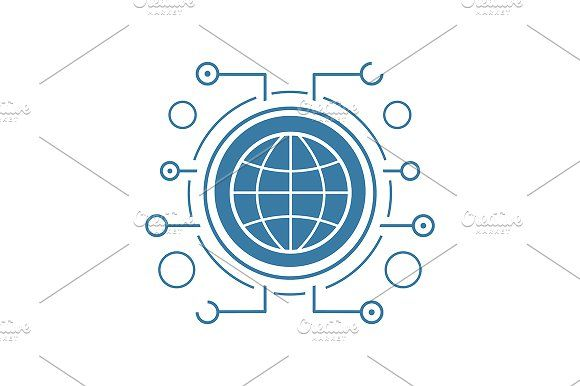 Global network icon. Vector   @creativework247