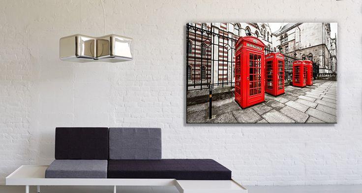 Πίνακας σε καμβά Houseart - Τηλεφωνικοί θάλαμοι, Λονδίνο