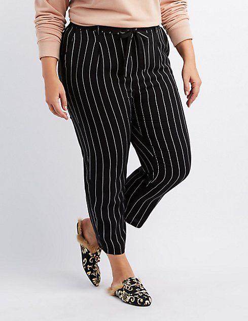 e436631a59e690 Plus Size Striped Tie-Front Pants   Clothes   Pants, Striped pants ...