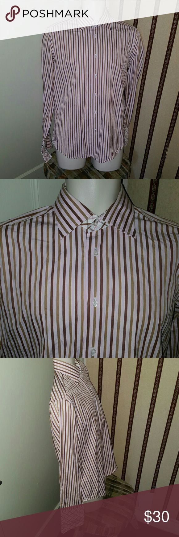 "Robert Graham Striped French Cuff Shirt Sz 15 1/2 Robert Graham embroidered French cuff shirt. Size is 15 1/2. There is a pin hole near the cuff, see last pic. Great colors on the shirt. Arm pit to arm pit is 22"". 100% cotton. Robert Graham Shirts Dress Shirts"
