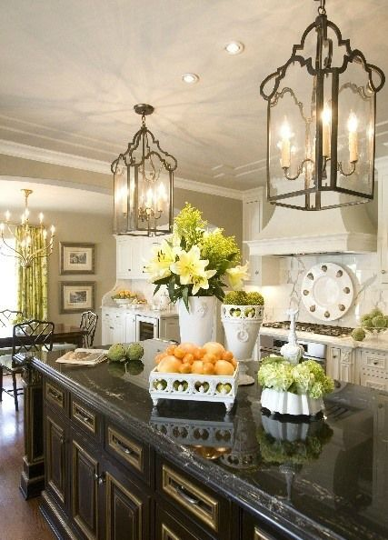 Lantern pendant lights in the kitchen for an instant upgrade - LOVE!!!!!1