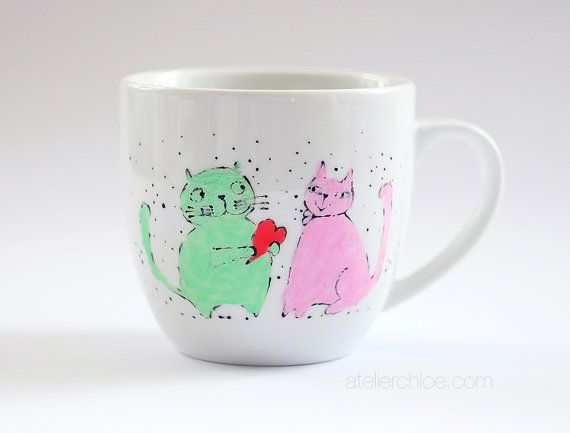 Cats porcelain mug hand painted cat mug gift for by atelierChloe
