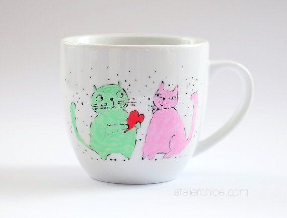 Cats porcelain mug hand painted cat mug gift for by atelierChloe