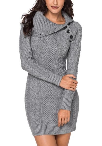 739bf05066 Winter Style    Slip into warmth and classiness this fall as you settle  with this grey cable knit split cowl neck sweater dress.