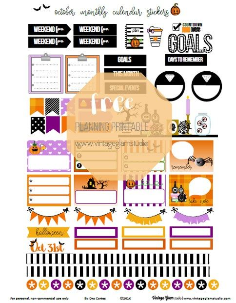 Free October Monthly Planner Stickers | Vintage Glam Studio