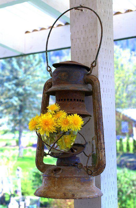 flowers in creative junk vases funky junk interiors - dandelions in rusty lantern
